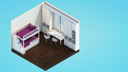 Bedroom with bunk bed in low-poly style with space for text