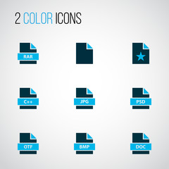 Document icons colored set with favorite file, text, file rar and other bitmap