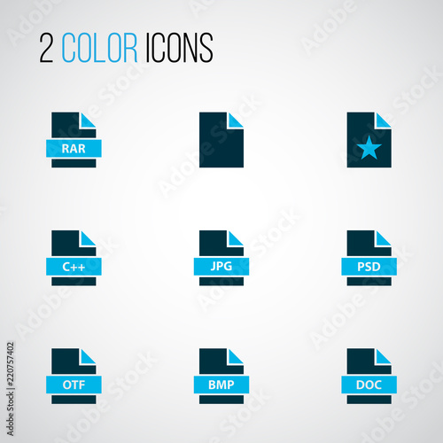 Document icons colored set with favorite file, text, file rar and