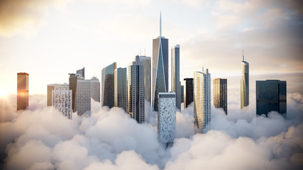 City above the clouds Wall mural