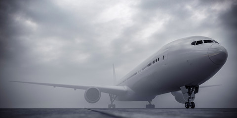 Airplane at the airport during the fog