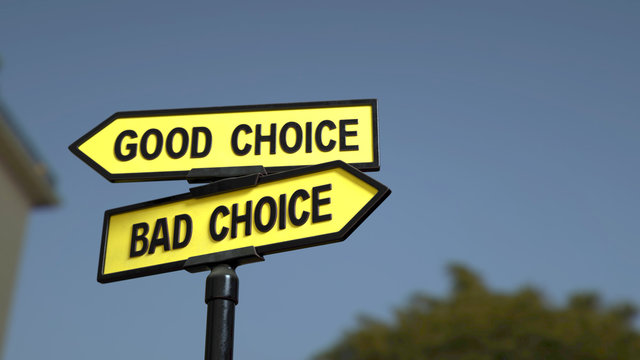 A road sign with good choice bad choice words . 3d image.