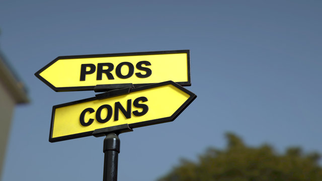 A road sign with pros cons words. 3d image.
