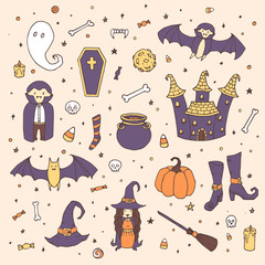 Vector Halloween set with pumpkins, ghosts, vampire, witch, hat, broom, cauldron, house, bats, bones, skulls and candy corn in sketch style. Hand drawn holiday collection on the starry background.