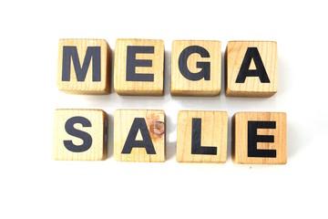 mega sale alphabet letters isolated on white background