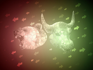 Green Bull vs Red Bear stock exchange illustration concept with arrow up and down for indicating market sentiment. Suitable for analysis article cover photo when market situation is unclear.