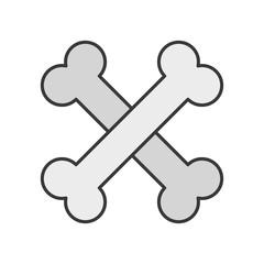 cross bones, Halloween related icon, pixel perfect, outline design editable stroke