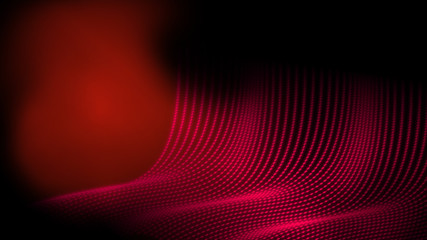 Abstract technology dot wire frame polygon geometry background in red color theme. Giving feeling within cave