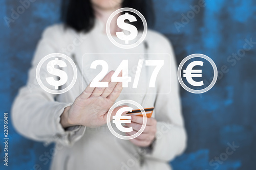 Business On 24 Hours Service Icon In Network Money Transfer