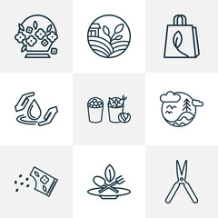 Ecology icons line style set with eco food, flower seed, flower basket and other drop  elements. Isolated vector illustration ecology icons.