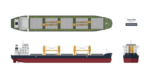 Cargo ship on a white background. Top, side and front view. Container transport in flat style. Industrial drawing of tanker.  Vessel blueprint