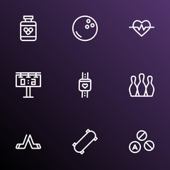Activity icons line style set with smart watch, bowling, drugs and other skittles  elements. Isolated vector illustration activity icons.