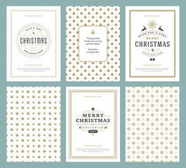 Merry Christmas greeting cards templates and patterns backgrounds