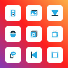 Multimedia icons colored set with video, backward, albums and other control device