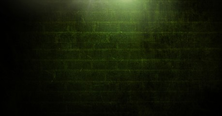 Vignette and light on green brick wall background