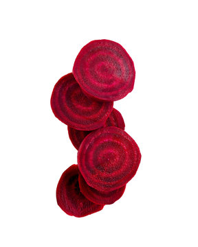 Common Beet Slices Against White Background.