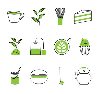 Matcha tea vector outline icons collection set. Japan traditional drink