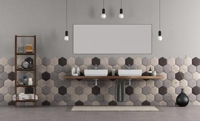 Bathroom with double sink and hexagonal tiles