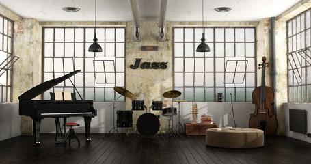 Jazz instruments in a loft