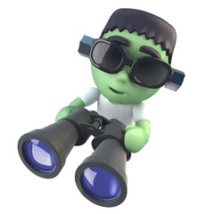 Vector 3d Funny cartoon frankenstein halloween monster holding a pair of binoculars