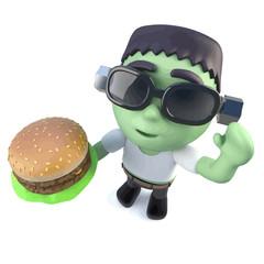 Vector 3d Funny cartoon frankenstein halloween monster eating a cheeseburger