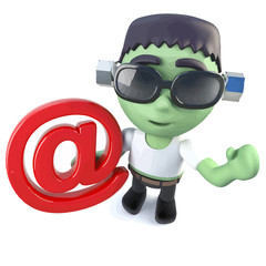 Vector 3d Funny cartoon frankenstein monster holding an email address symbol