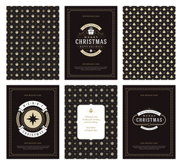 Merry Christmas greeting cards templates and patterns