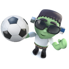 Vector 3d Funny cartoon frankenstein monster holding a soccer ball