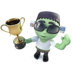 Vector 3d Funny cartoon Halloween frankenstein monster holding a gold cup trophy award prize