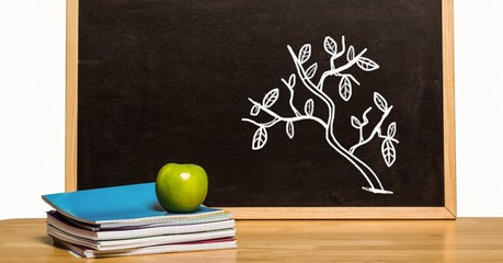 Tree Education drawing on blackboard with apple for school