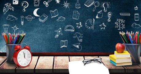 Education drawing on blackboard for school with shelf