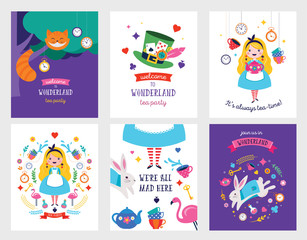 Alice in Wonderland banner, poster and card. We are mad here