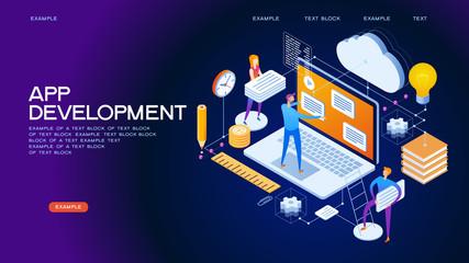 App Development isometric concept banner