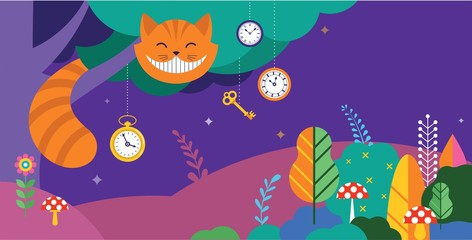 Alice in Wonderland banner, poster and card. We are mad here. Vector background