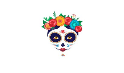 Dia de los muertos, Day of the dead, Mexican holiday, festival. Poster, banner and card with make up of sugar skull, woman with flowers