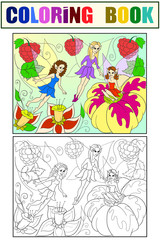 Fairy-tale world of fairies coloring book for children cartoon illustration. White, black and color