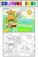 Nature of Japan coloring book for children cartoon raster illustration