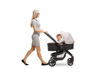 Young mother walking with a stroller