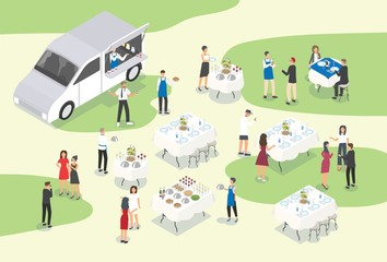 People providing catering at formal event or occasion. Group of food service workers setting tables, working at bar, carrying meals and serving guests. Modern colorful isometric vector illustration.