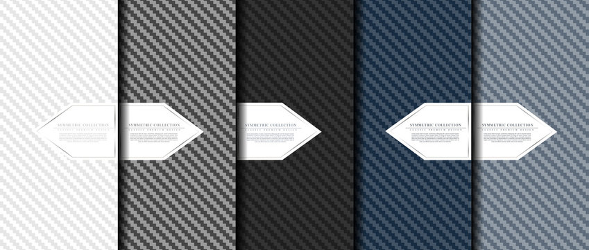 Symmetric collection abstract carbon fiber pattern background card template vector