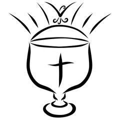 Holy Communion Cup with a cross, a shining sun and a flying bird