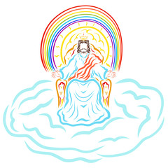 Jesus sitting on the throne in the cloud, the shining sun and the rainbow behind Him