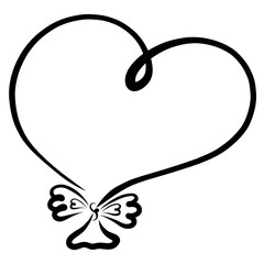 Balloon, heart with a bow, painted with black lines