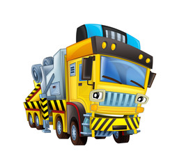 cartoon scene with tow truck looking and smiling on white background - illustration for children