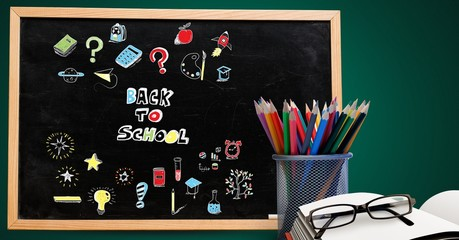 Back to school Education drawing on blackboard for school