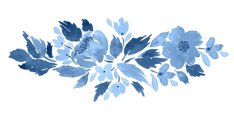 Loose watercolor floral arrangement  in blue. Hand painted composition with camellia flowers