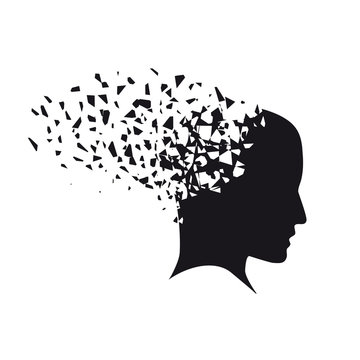 Concept of stress and problems on the mind. Vector broken sketch style