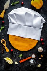 concept cook work on dark background top view