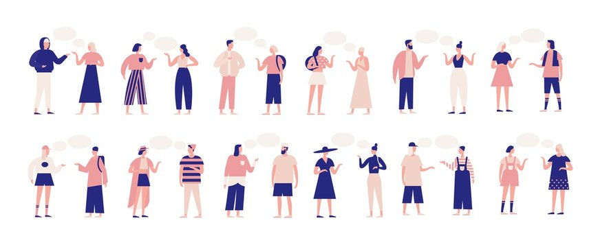 Bundle of people talking or speaking to each other. Collection of chatting men and women with speech bubbles isolated on white background. Colorful vector illustration in flat cartoon style.