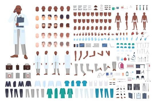 African American male doctor or physician constructor set or DIY kit. Bundle of body parts in different poses, uniform isolated on white background. Front, side and back views. Vector illustration.